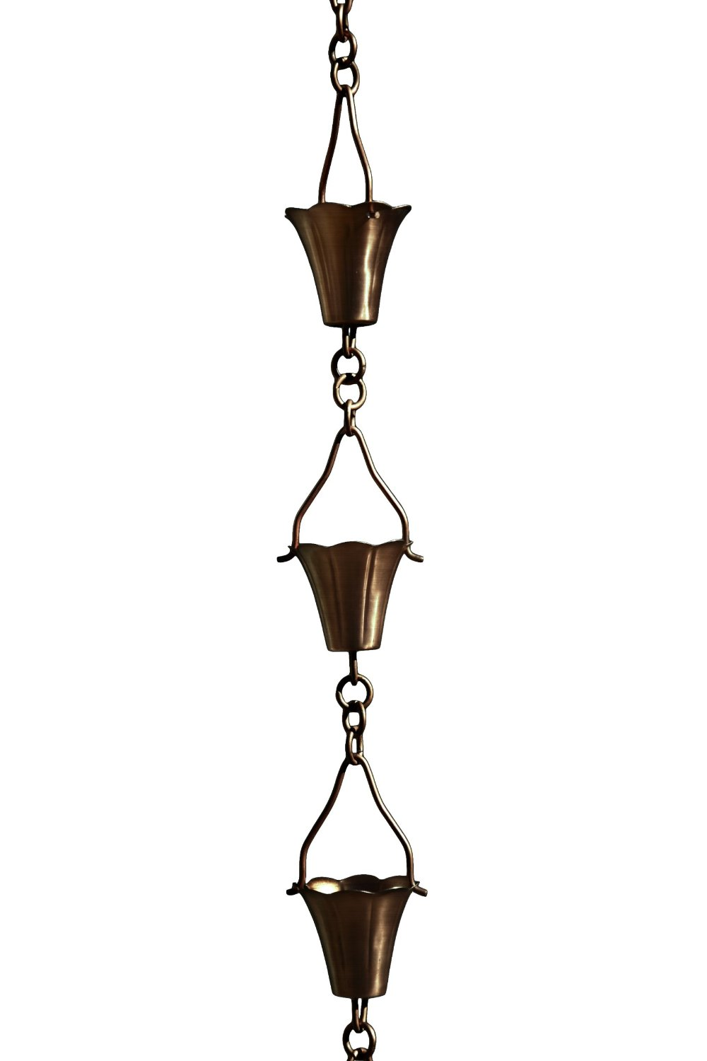 Patina Products R259 Antique Copper Fluted Cup Rain Chain Full Length