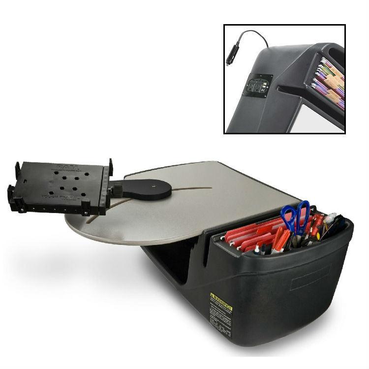 QBC Bundled AutoExec RoadMaster Truck Portable Car Seat Desk With Built In 200Watt Inverter And Tablet