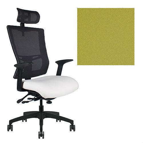 Office Master Affirm Collection AF589 Ergonomic Executive High Back Chair - With Armrests - Black Mesh Back - Grade 1 Fabric - Elements Chlorine Green 1148 PLUS Free Ergonomics eBook