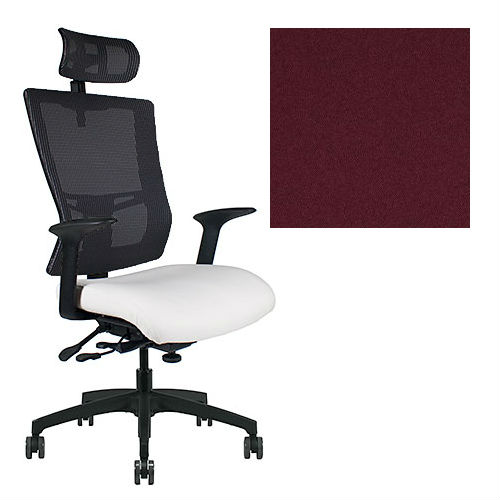 Office Master Affirm Collection AF589 Ergonomic Executive High Back Chair - With Armrests - Black Mesh Back - Grade 1 Fabric - Elements Iodine Red 1147 PLUS Free Ergonomics eBook