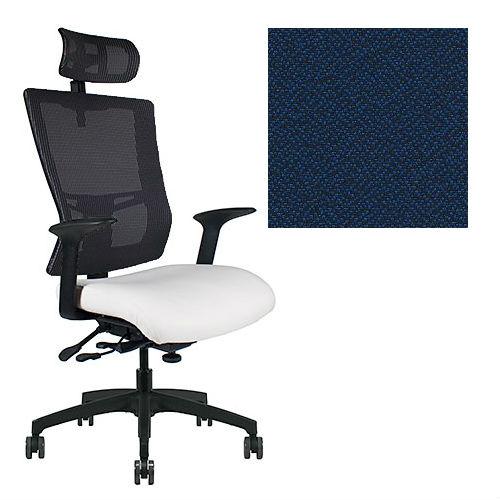 Office Master Affirm Collection AF589 Ergonomic Executive High Back Chair - With Armrests - Black Mesh Back - Grade 1 Fabric - Spice Juniper Blue 1164 PLUS Free Ergonomics eBook