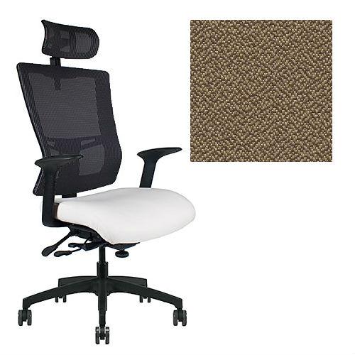 Office Master Affirm Collection AF589 Ergonomic Executive High Back Chair - With Armrests - Black Mesh Back - Grade 1 Fabric - Spice Nutmeg Brown 1163 PLUS Free Ergonomics eBook