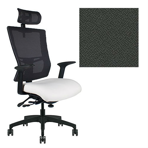 Office Master Affirm Collection AF589 Ergonomic Executive High Back Chair - With Armrests - Black Mesh Back - Grade 1 Fabric - Spice Pepper Grey 1161 PLUS Free Ergonomics eBook
