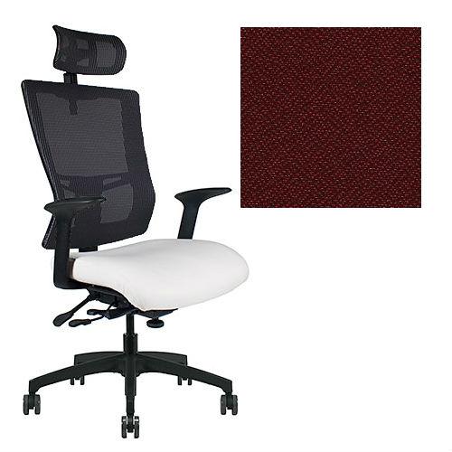 Office Master Affirm Collection AF589 Ergonomic Executive High Back Chair - With Armrests - Black Mesh Back - Grade 1 Fabric - Spice Paprika Red 1167 PLUS Free Ergonomics eBook