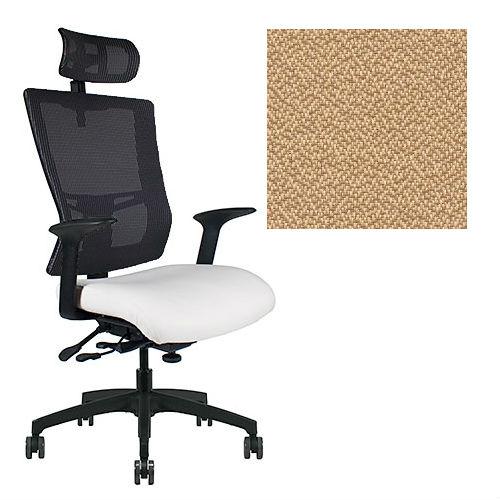 Office Master Affirm Collection AF589 Ergonomic Executive High Back Chair - With Armrests - Black Mesh Back - Grade 1 Fabric - Spice Sesame Beige 1166 PLUS Free Ergonomics eBook