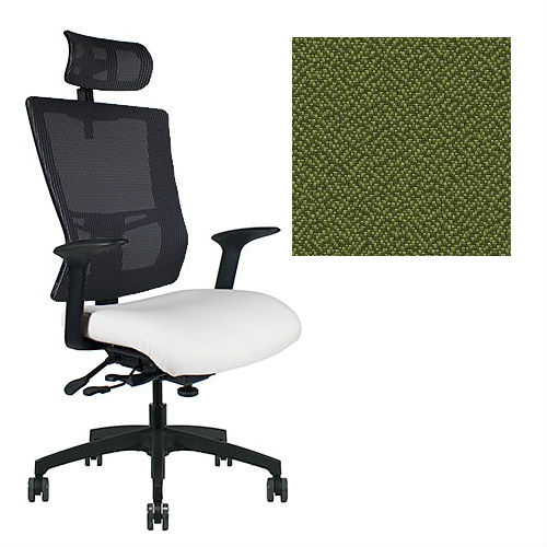 Office Master Affirm Collection AF589 Ergonomic Executive High Back Chair - With Armrests - Black Mesh Back - Grade 1 Fabric - Spice Mint Green 1168 PLUS Free Ergonomics eBook