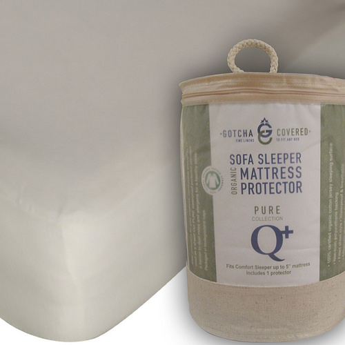 Gotcha Covered PURE Collection QUEEN Size American Leather Comfort Sleeper Organic Jersey Protectors - Sleeper Profile Up to  5 in. Natural Color