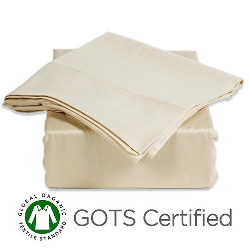 Gotcha Covered PURE Collection SPLIT KING Size 100 Percent Organic Egyptian Cotton Sateen 300 Thread Count Bed Sheet Set - Low Profile up to 11 in. Natural