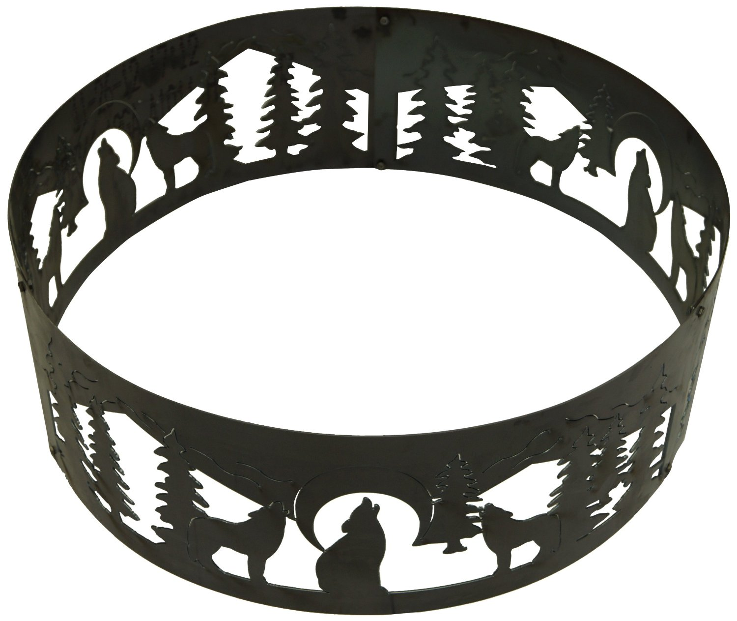 38 Inch Fire Ring - Wolves Decorative Steel Fire Pit Ring