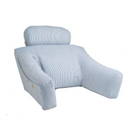 BedLounge Reading Pillow - Bedlounge -Regular Size, Cotton Cover, Blue with White Stripes - 1040407