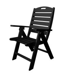 Polywood Outdoor Furniture Nautical Highback Chair, Blac