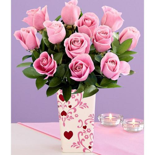 One Dozen Long Stemmed Pink Roses (with FREE glass vase) - Flowers