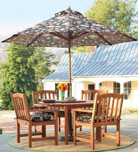 Forest Stewardship Council-Certified Eucalyptus Round Dining Table And Four Chairs Set