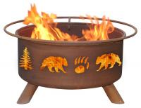 Patina - F107 - Bear and Tree Fire Pit Grill - Rust - 24 in.