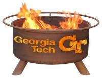 Georgia Tech Yellow Jacktes Fire Pit Grill - Rust Patina - Patina F212 - 30 Inch Collegiate Fire Pit