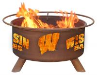 University of Wisconsin Badgers Fire Pit Grill - Rust Patina - Patina F217 - 30 Inch Collegiate Fire Pit