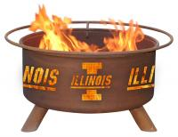University of Illinois Illini Fire Pit Grill - Rust Patina - Patina F220 - 30 Inch Collegiate Fire Pit