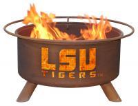 LSU Tigers Fire Pit Grill - Rust Patina - Patina F221 - 30 Inch Collegiate Fire Pit