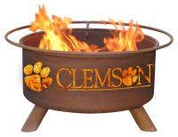Clemson Tigers Fire Pit Grill - Rust Patina - Patina F222 - 30 Inch Collegiate Fire Pit