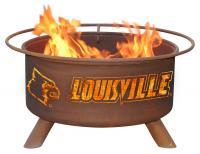 Louisville Cardinals Fire Pit Grill - Rust Patina - Patina F224 - 30 Inch Collegiate Fire Pit