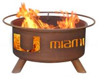 University of Miami Hurricanes Fire Pit Grill - Rust Patina - Patina F225 - 30 Inch Collegiate Fire Pit
