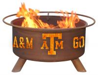 Texas A&M Aggies Fire Pit Grill - Rust Patina - Patina F232 - 30 Inch Collegiate Fire Pit