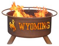 University of Wyoming Cowboys Fire Pit Grill - Rust Patina - Patina F236 - 30 Inch Collegiate Fire Pit