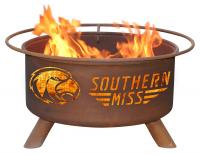 Southern Mississippi University Golden Eagles Fire Pit Grill - Rust Patina - Patina F238 - 30 Inch Collegiate Fire Pit