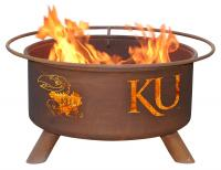 Kansas University Jayhawks Fire Pit Grill - Rust Patina - Patina F239 - 30 Inch Collegiate Fire Pit