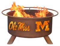 Ole Miss Rebels Fire Pit Grill - Rust Patina - Patina F242 - 30 Inch Collegiate Fire Pit