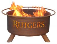 Rutgers University Scarlet Knights Fire Pit Grill - Rust Patina - Patina F248 - 30 Inch Collegiate Fire Pit