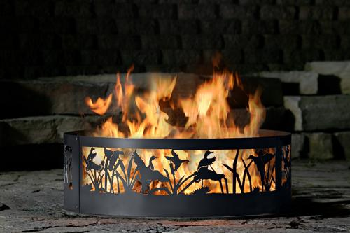 Fire Ring Fire Pit - PD Metal FD0930 - Flying Ducks Fire Ring - 30 Inch - Black